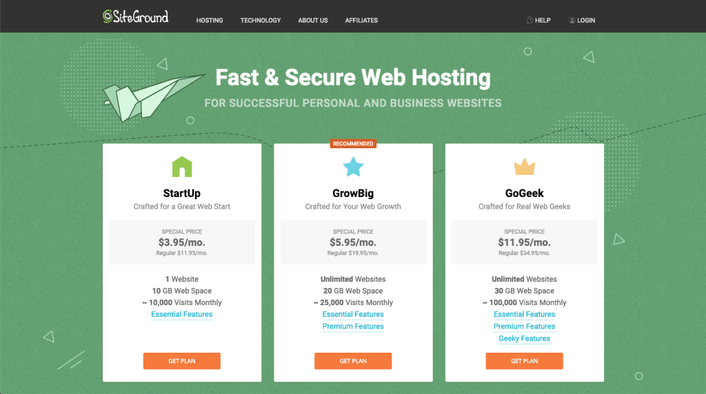 Siteground hosting setup step1-plan