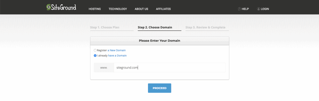 Siteground hosting setup step2