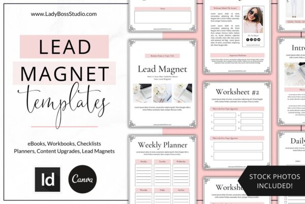 Blush Lead Magnet eBook Templates Canva & InDesign