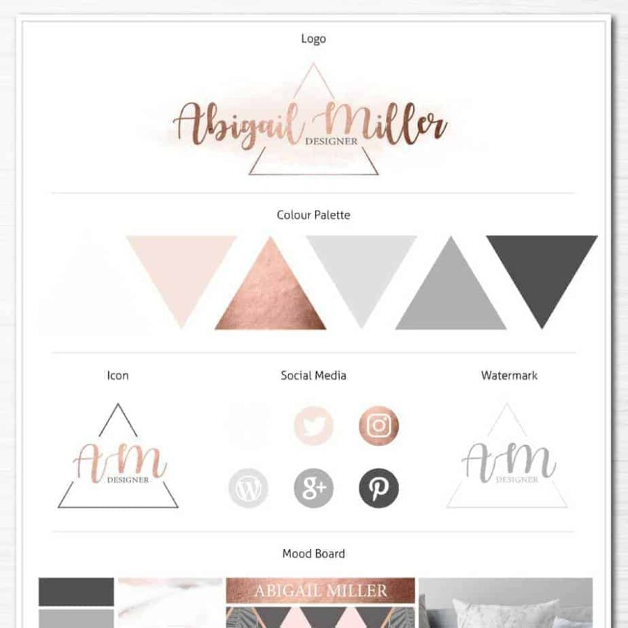 Rose Gold Brand Board