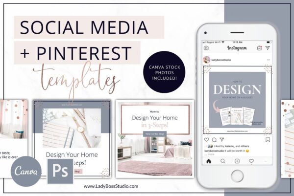 Rose Gold Social Media & Pinterest Templates