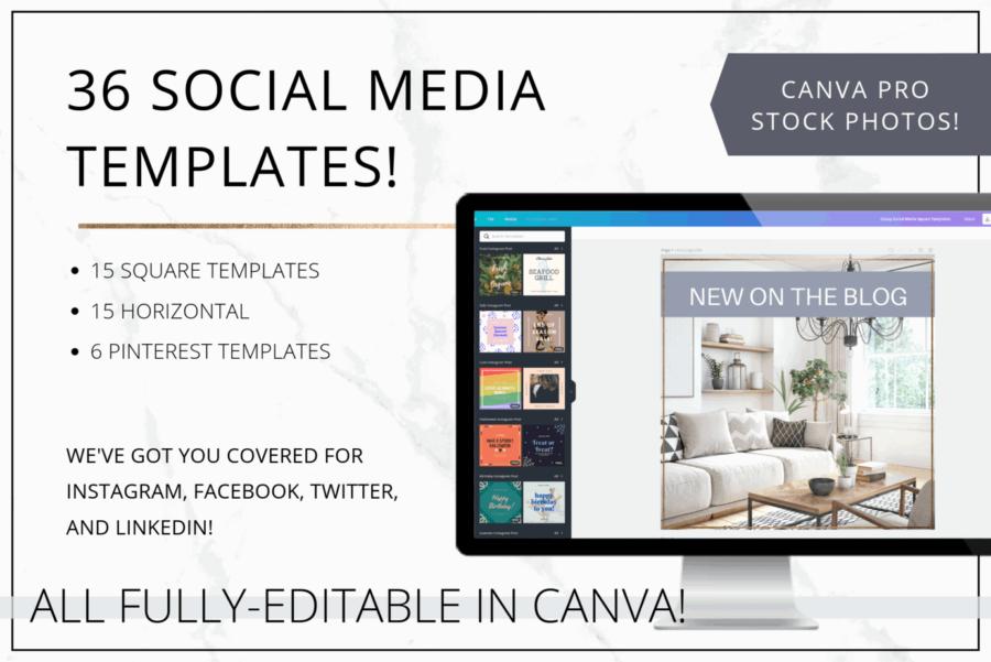 Modern Gold Social Media & Pinterest Templates for Canva