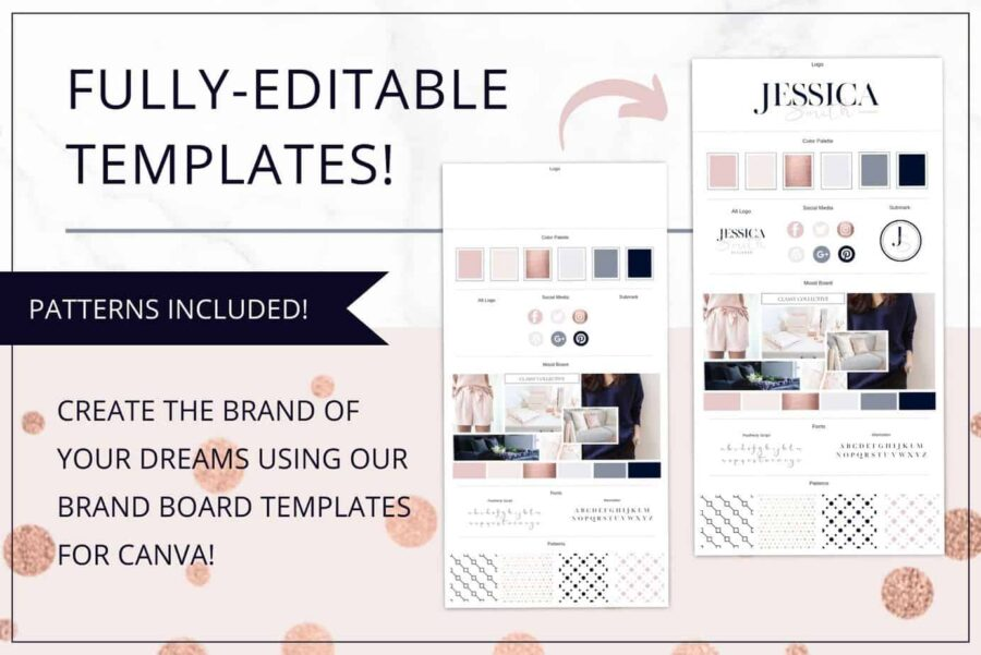 Rose Gold Brand Board Template