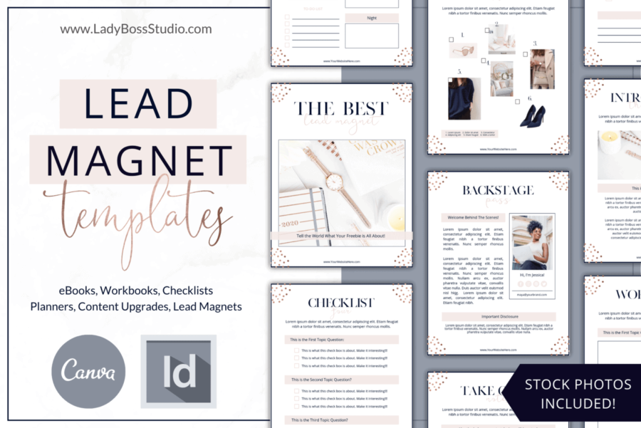 Rose Gold Lead Magnet Templates for Canva and InDesign