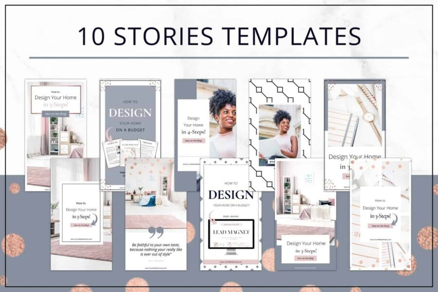 Rose Gold Social Media and Pinterest Templates