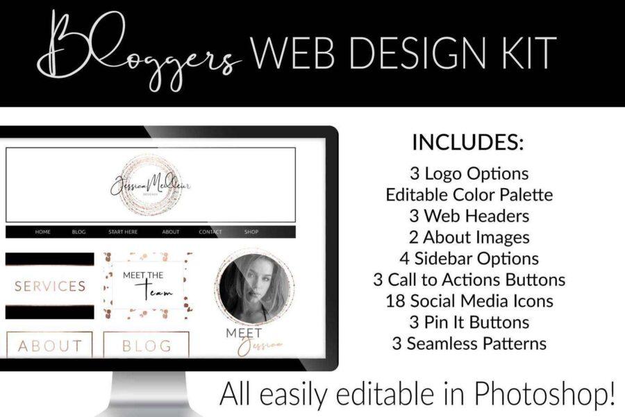 Rose Gold Web Branding Kit for Photoshop