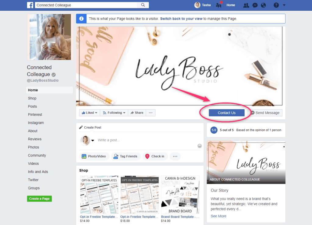 Facebook Business Page Call to Action 1