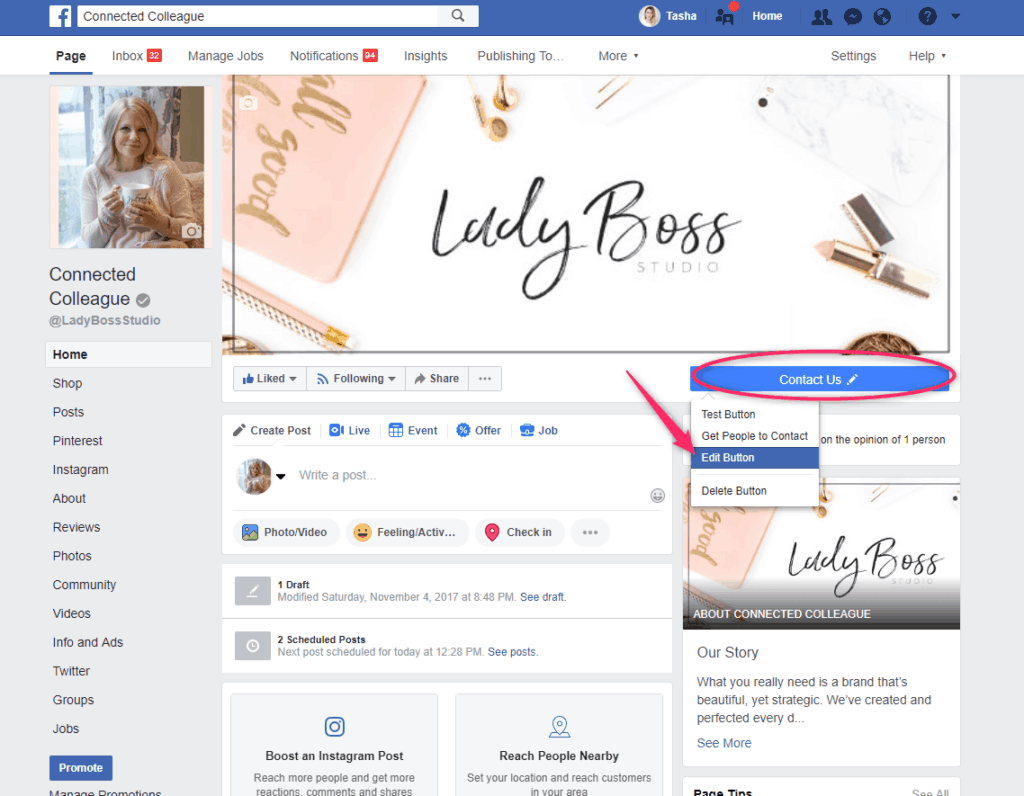 Facebook Business Page Call to Action 2