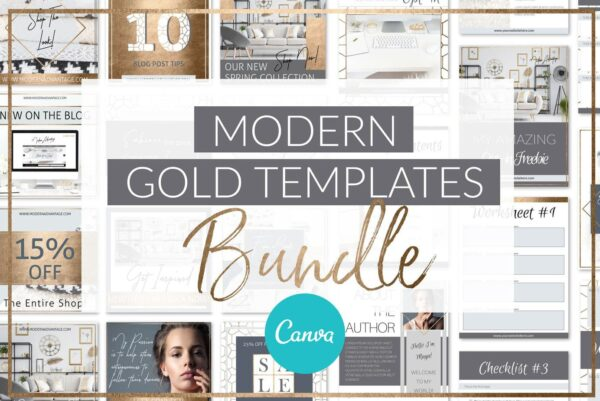 Modern Gold Brand Templates Bundle For Canva