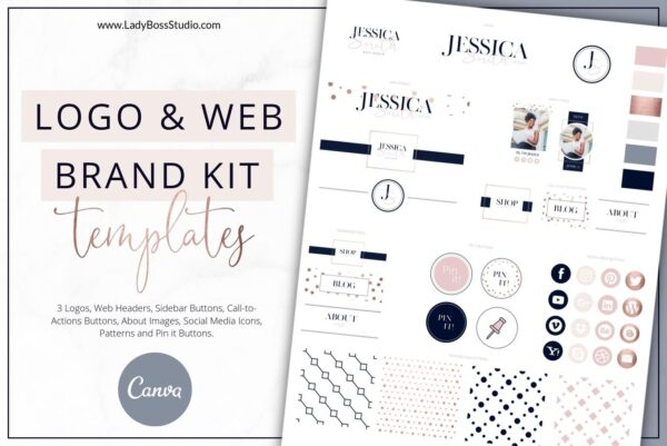 Rose Gold Website Branding Kit