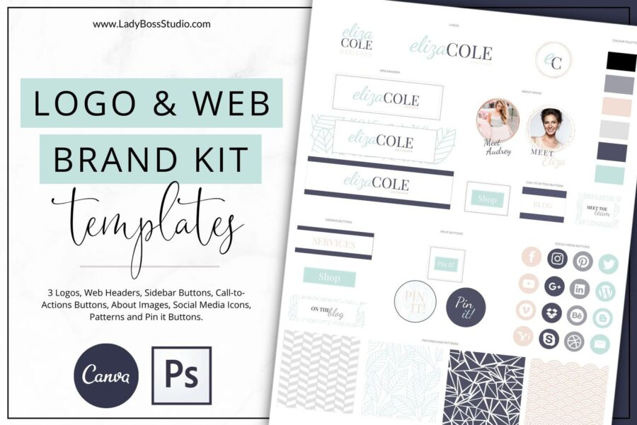Turquoise Website Branding Kit for Canva and Photoshop (1)