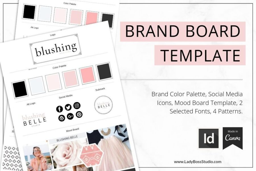 Blush Brand Board Template for Canva and InDesign