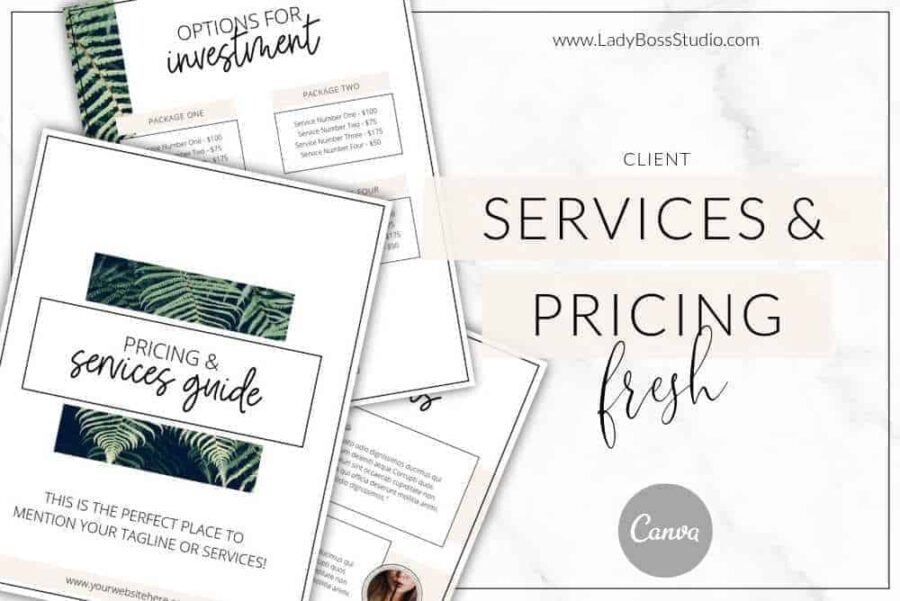 Fresh Pricing and Services Guide Templates Shop 1