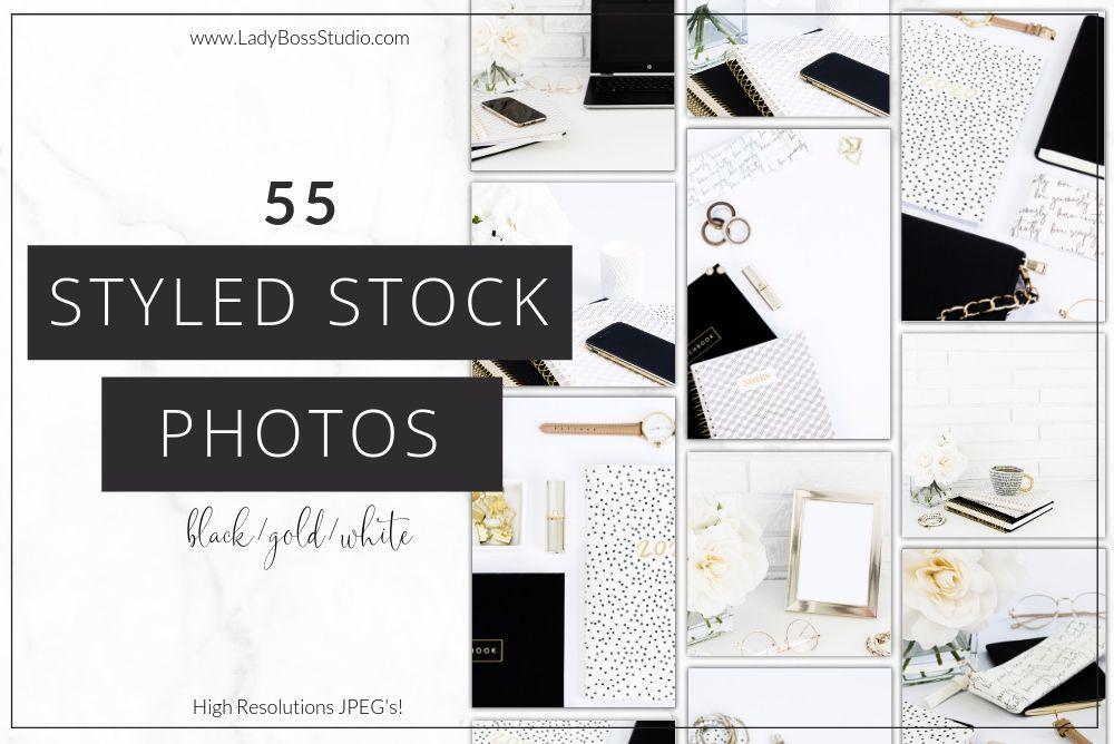 Black, White and Gold Stock Photos