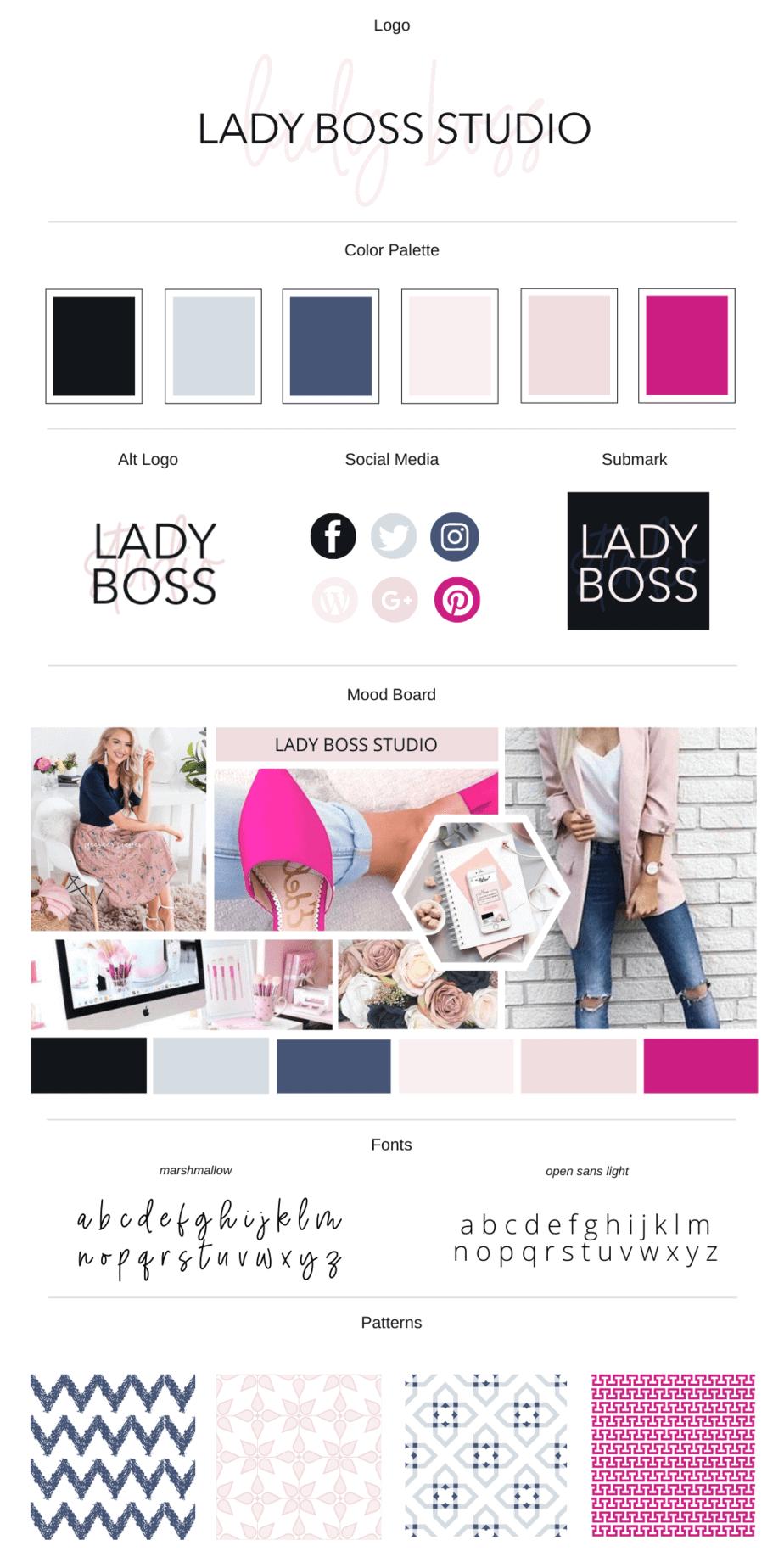 Lady Boss Studio Branding Board 2020