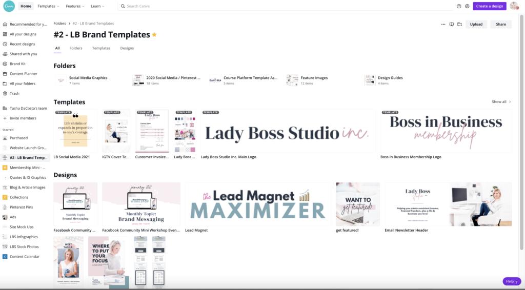 Lady Boss Studio Canva Brand Templates Folder Social Media Graphics